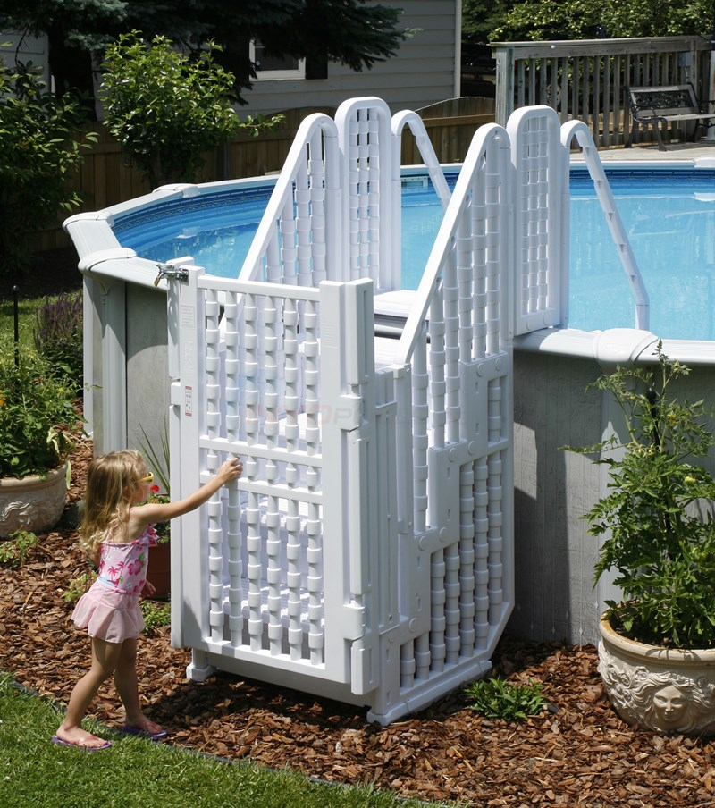 Above ground pool stairs steps home design inside for Above ground pool gate ideas