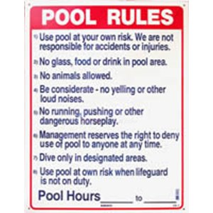 Swimming Pool Sign Pool Rules Nsssw2