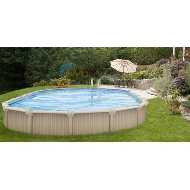 Wilbar oasis 12 39 x 17 39 oval 54 aluminum above ground pool for Best looking above ground pools
