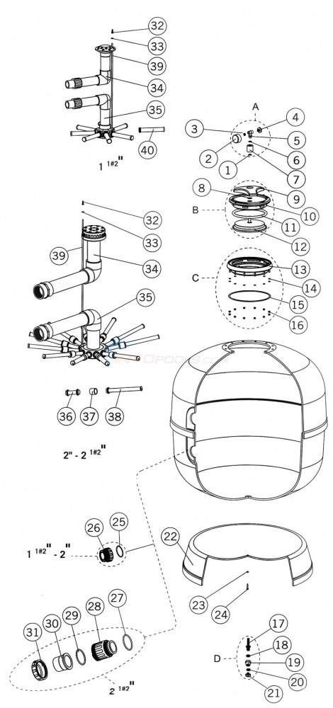 Astral Aster Sand Filter Parts