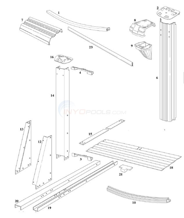 "Cypress 15' x 24' BL Oval 52"" (Resin Top Rail, Steel Upright) Diagram"
