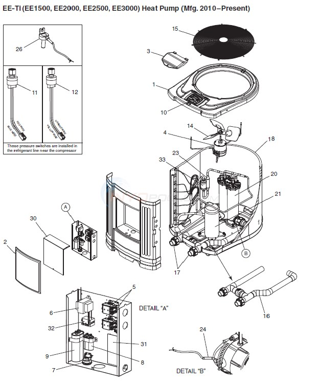 jandy ee ti heat pump parts. Black Bedroom Furniture Sets. Home Design Ideas
