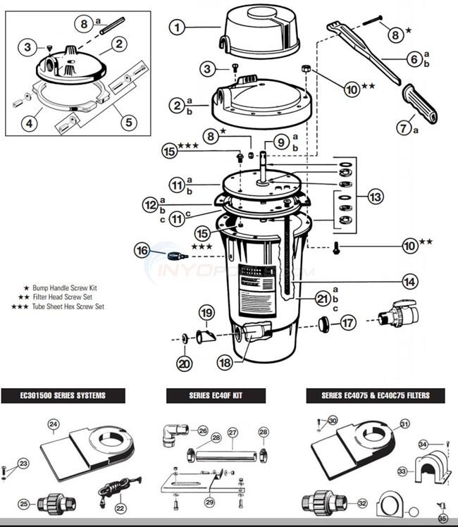 Hayward Perflex D.E. FIlters EC-30, EC-40 & EC-40AC Parts