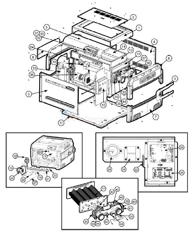 hayward universal h series low nox heaters parts inyopools