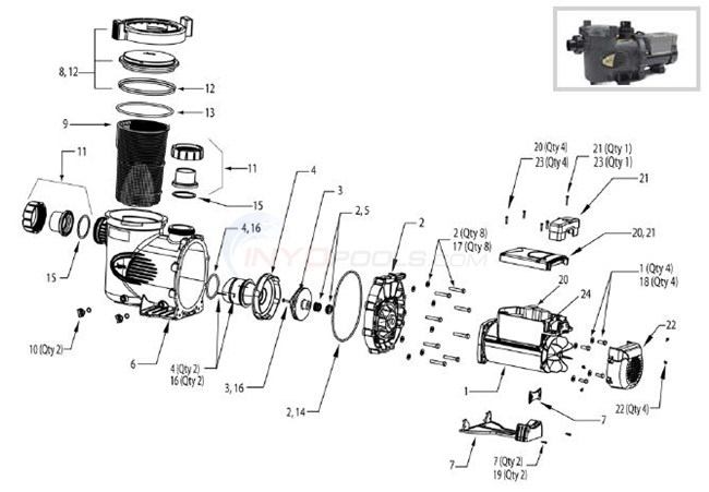 Jandy e pump series parts for Jandy pool pump motor replacement