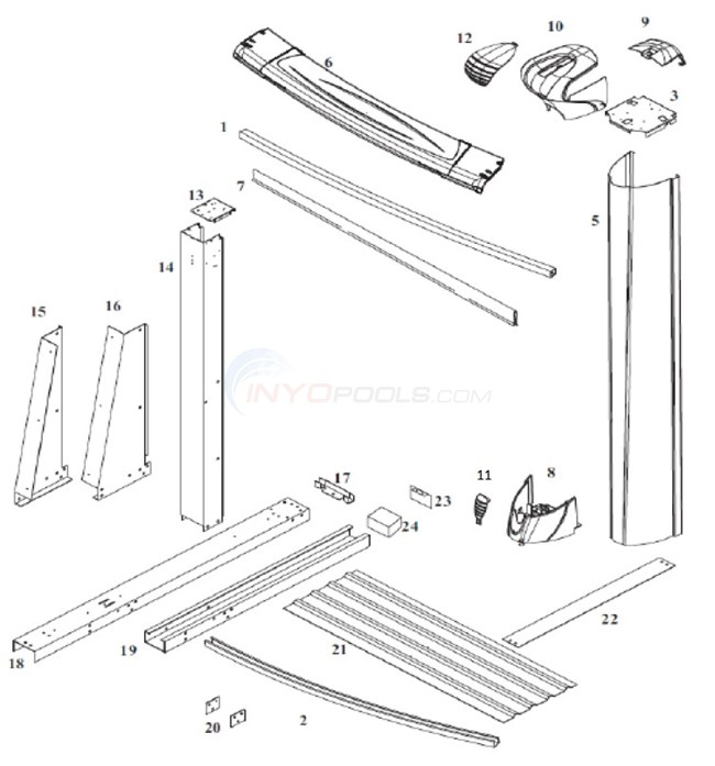 Oceanic 12 39 X17 39 Yardmore Oval Resin Top Rail Steel Upright Parts