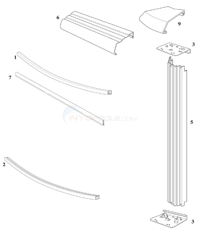Reprieve concord 18 39 round 48 wall steel top rail steel upright parts for Above ground swimming pool wall parts