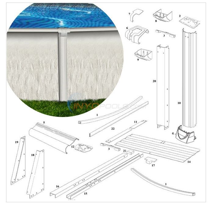 "Riverside Oval Buttressless 21'x43' 52"" Wall (Resin Top Rail, Steel Upright) Diagram"