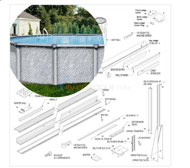 "Vista 15'x30' Oval 52"" Wall (Aluminum Top Rail, Aluminum Upright) Diagram"